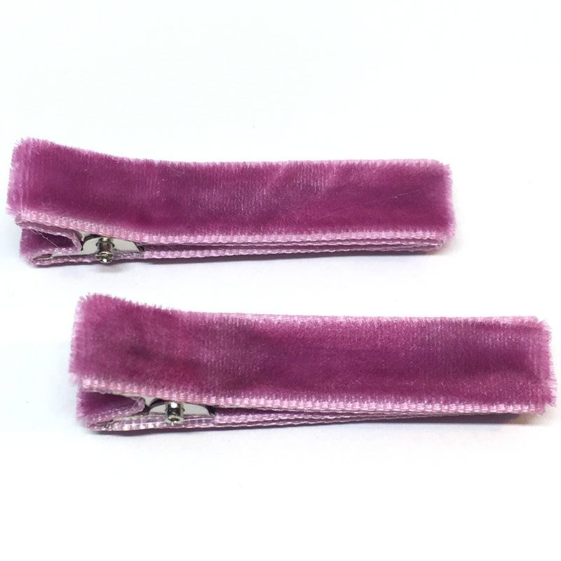 The Tiny Bow Shop Raspberry Velvet Hair Clip (2 pcs)