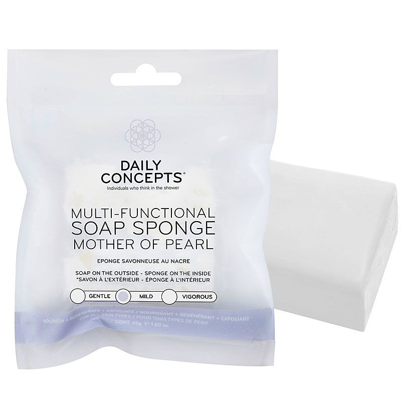 Daily Concepts Multi-Functional Soap Sponge - Mother of Pearl bar shown with packaging