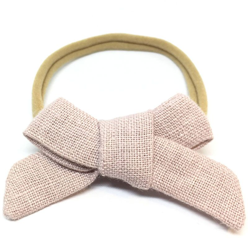 The Tiny Bow Shop Dusty Pink Linen Dainty Hair Bow