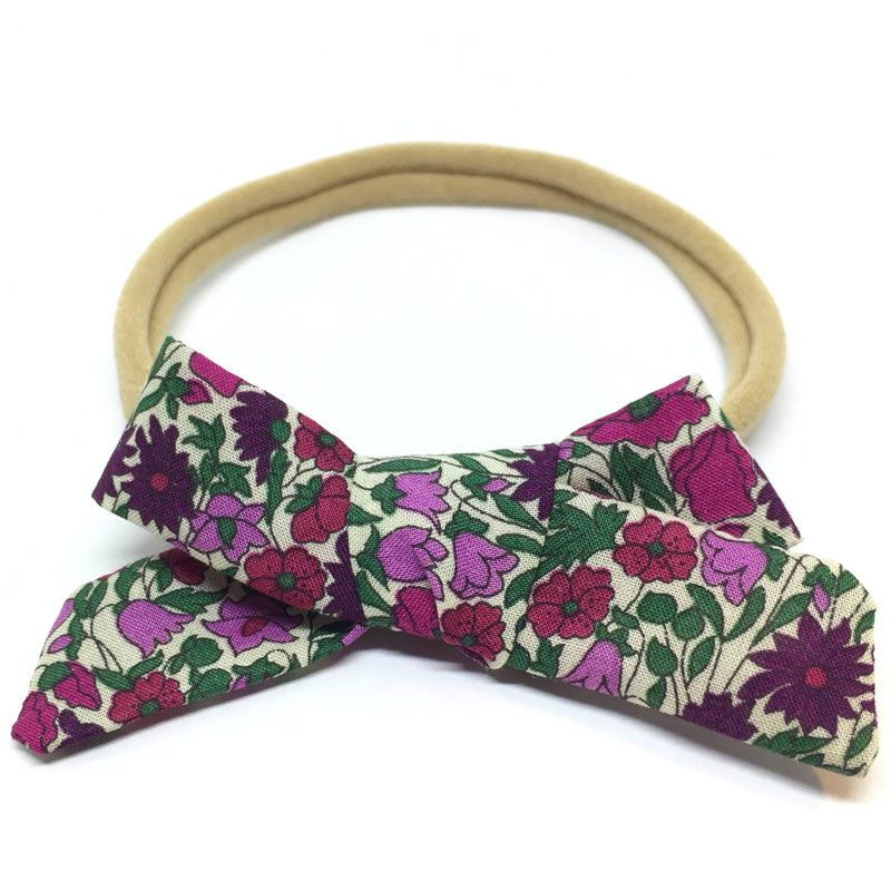 The Tiny Bow Shop Purple Floral Dainty Hair Bow