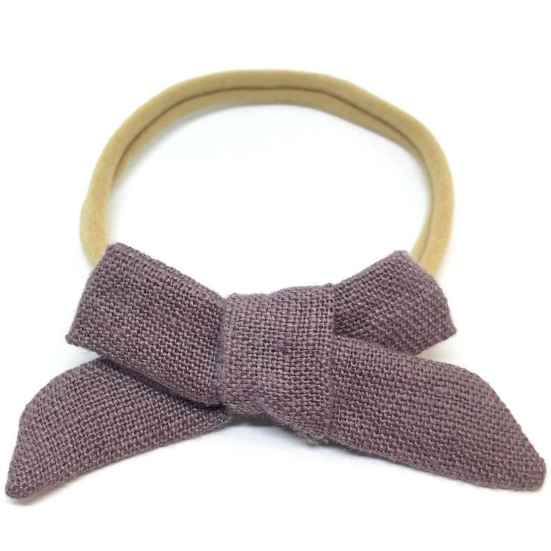 The Tiny Bow Shop Smoke Purple Linen Dainty Hair Bow