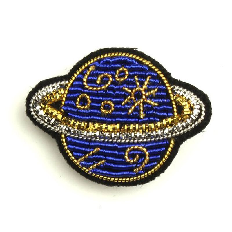 Macon & Lesquoy Hand Embroidered Saturn Pin