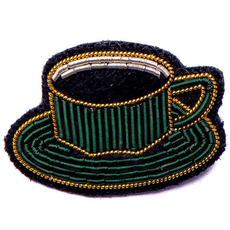 Macon & Lesquoy Hand Embroidered Cup of Coffee Pin