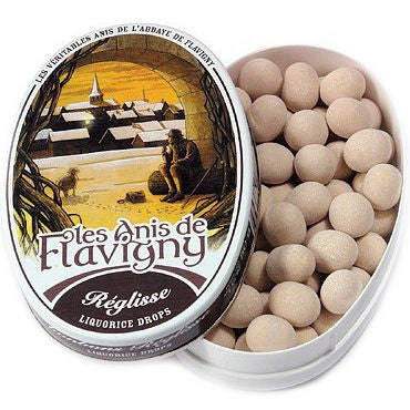 Les Anis de Flavigny Liquorice Flavored Hard Candy (1.75 oz) Lid off at Angle