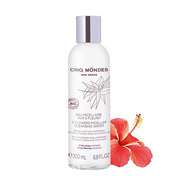 Cinq Mondes 5 Flowers Micellar Water (6.8 oz) with hibiscus flower