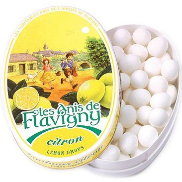 Les Anis de Flavigny Lemon Flavored Hard Candy (50 g) Close Up Lid Off