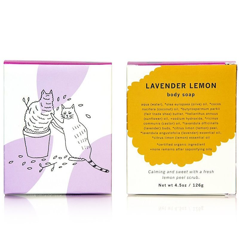 Meow Meow Tweet Lavender Lemon Bar Soap (5 oz) showing back and front of box