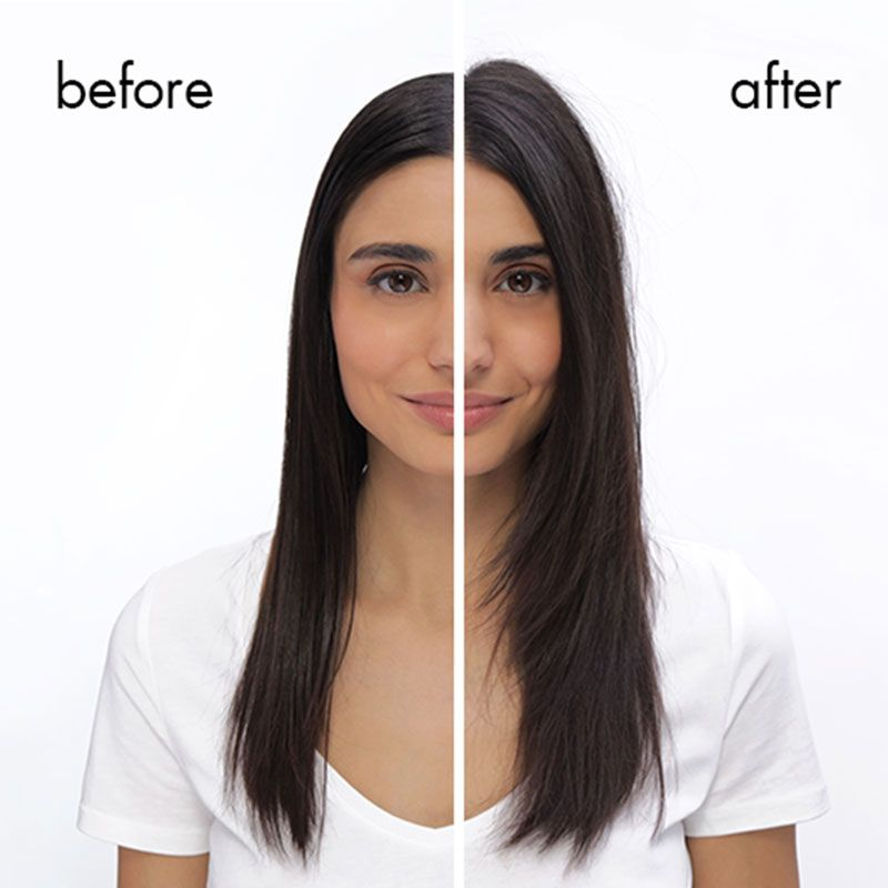 Before and After views of a girl with long hair who has used the product in the After image