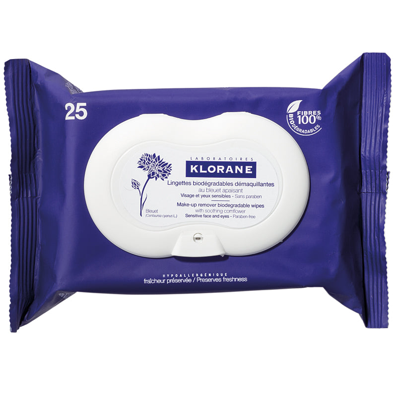 Soothing Eye & Face Make-Up Removal Wipes with Cornflower