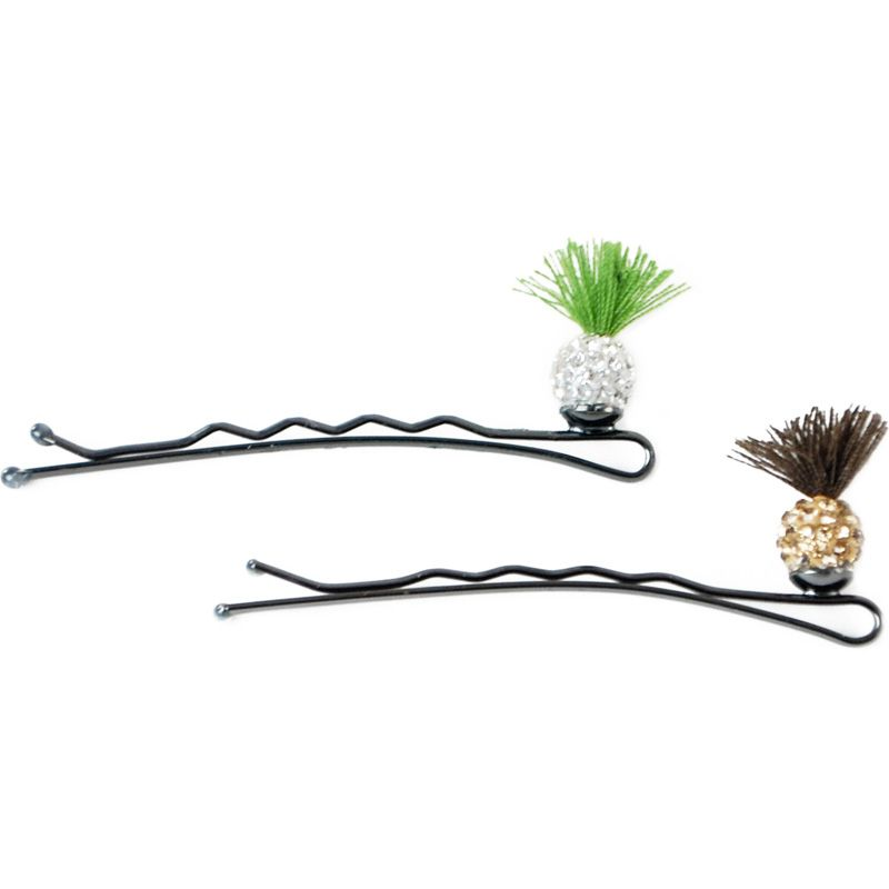 Jane Tran Sprouting Crystal Bobby Pins (Green & Brown)