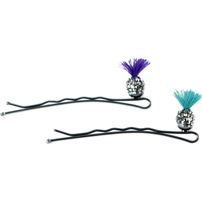 Jane Tran Sprouting Crystal Bobby Pins (Purple & Teal)
