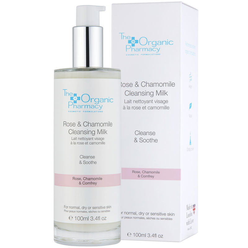 The Organic Pharmacy Rose & Chamomile Cleansing Milk 100 ml with box