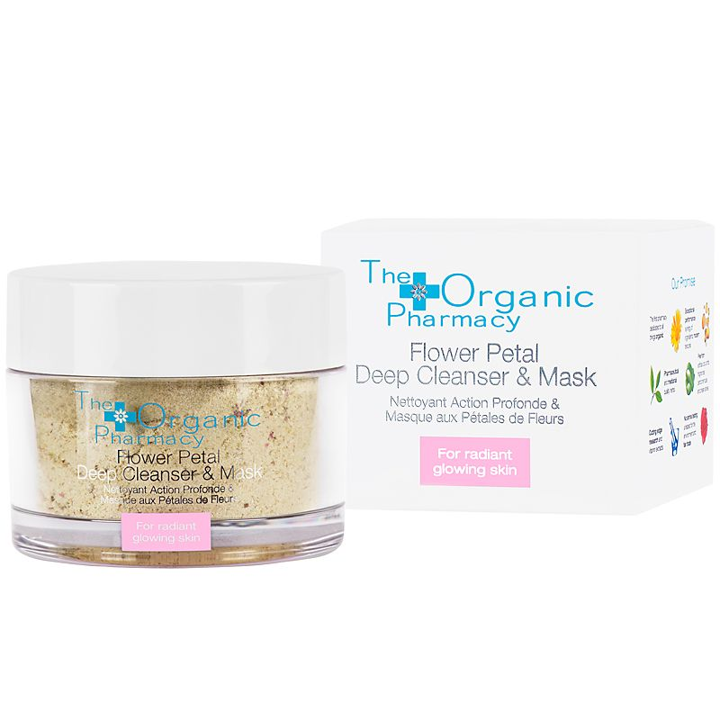 The Organic Pharmacy Flower Petal Deep Cleanser and Exfoliating Mask with box
