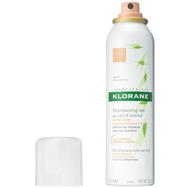 Klorane Dry Shampoo with Oat Milk Natural Tint Aerosol - Dark Hair Shades (3.2 oz) cap off
