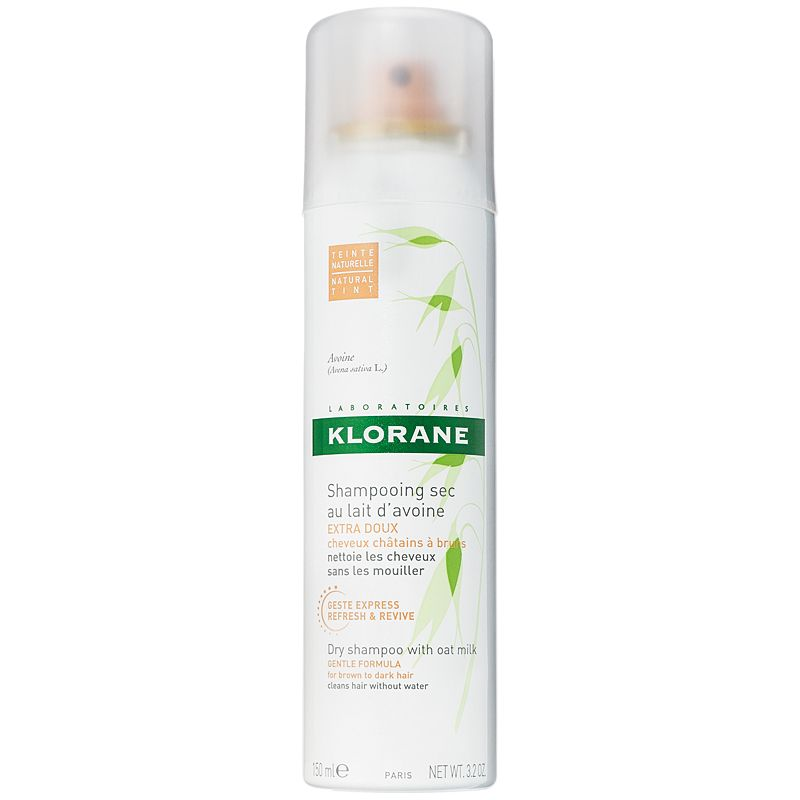 Klorane Dry Shampoo with Oat Milk Natural Tint Aerosol - Dark Hair Shades (3.2 oz)