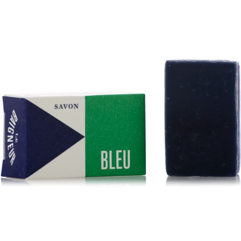 Le Baigneur Mini Savon Bleu (25 g) Wrapped and Unwrapped