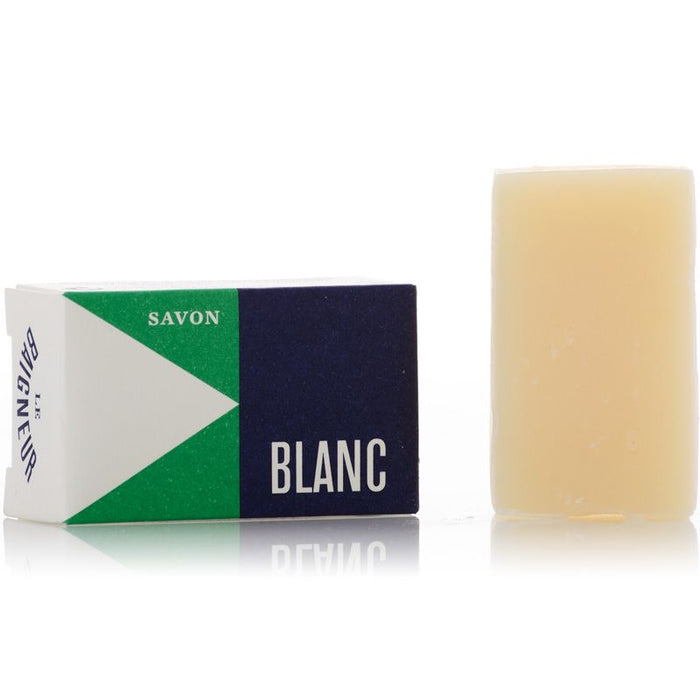 Le Baigneur Mini Savon Blanc (25 g) Wrapped and Unwrapped