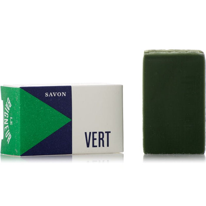 Le Baigneur Mini Savon Vert (25 g) Wrapped and Unwrapped
