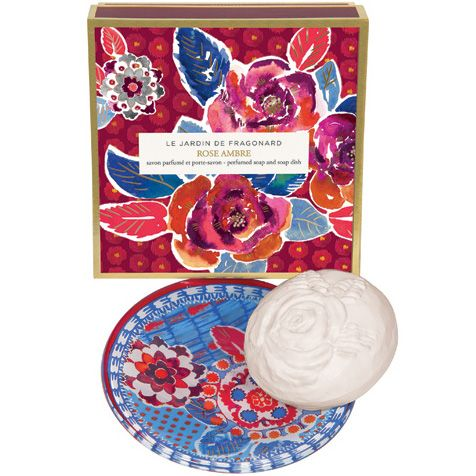 Fragonard Parfumeur Rose Ambre Dish & Perfumed Soap (150 g) with box