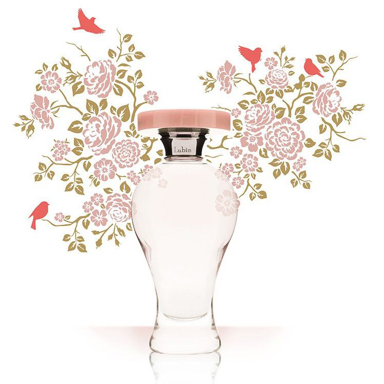 Lubin Grisette Eau de Parfum bottle with sketched flowers