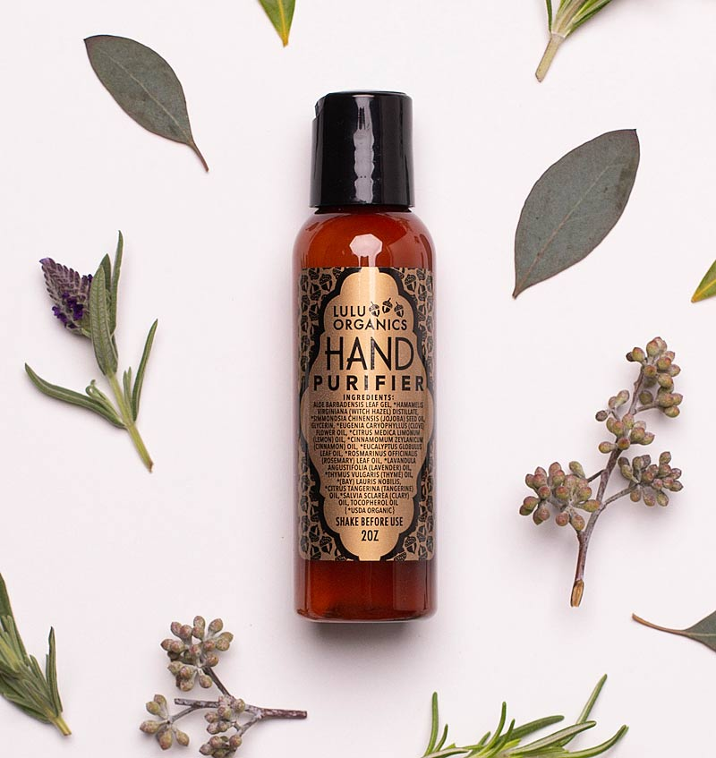 Lulu Organics Hand Purifier (2 oz) with ingredients