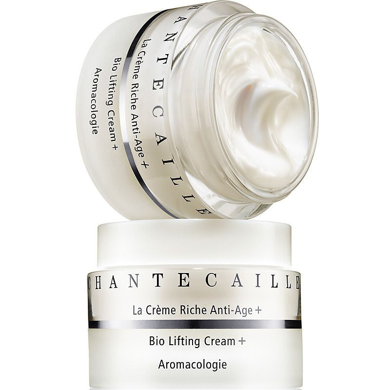Chantecaille Bio Lifting Cream Plus open jar stacked on top of closed jar