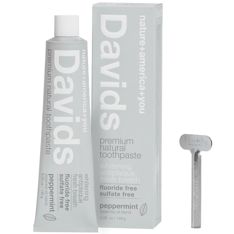 Davids Premium Natural Toothpaste (5.25 oz) with box and tube wringer