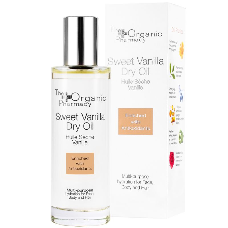 The Organic Pharmacy Sweet Vanilla Dry Oil with box
