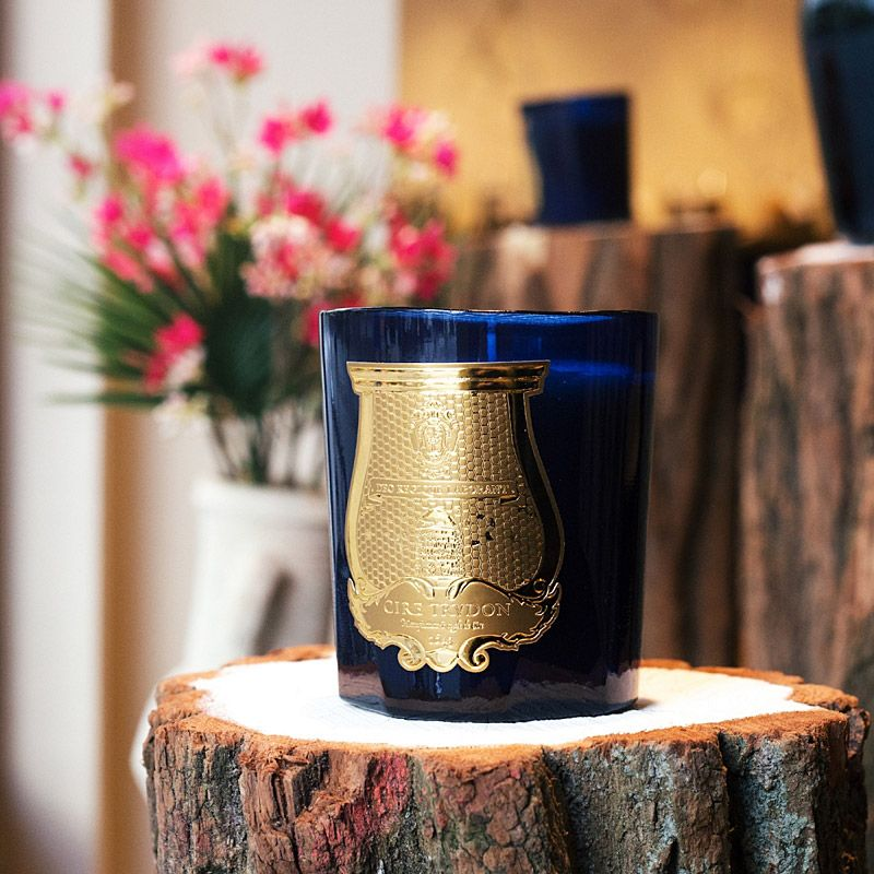 Cire Trudon Madurai Candle lifestyle shot on tree stump with flowers in the background