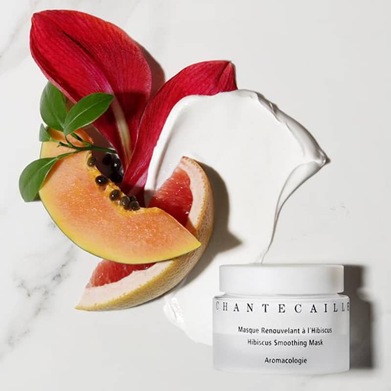 Beauty shot of Chantecaille Hibiscus Smoothing Mask showing swatch and ingredients
