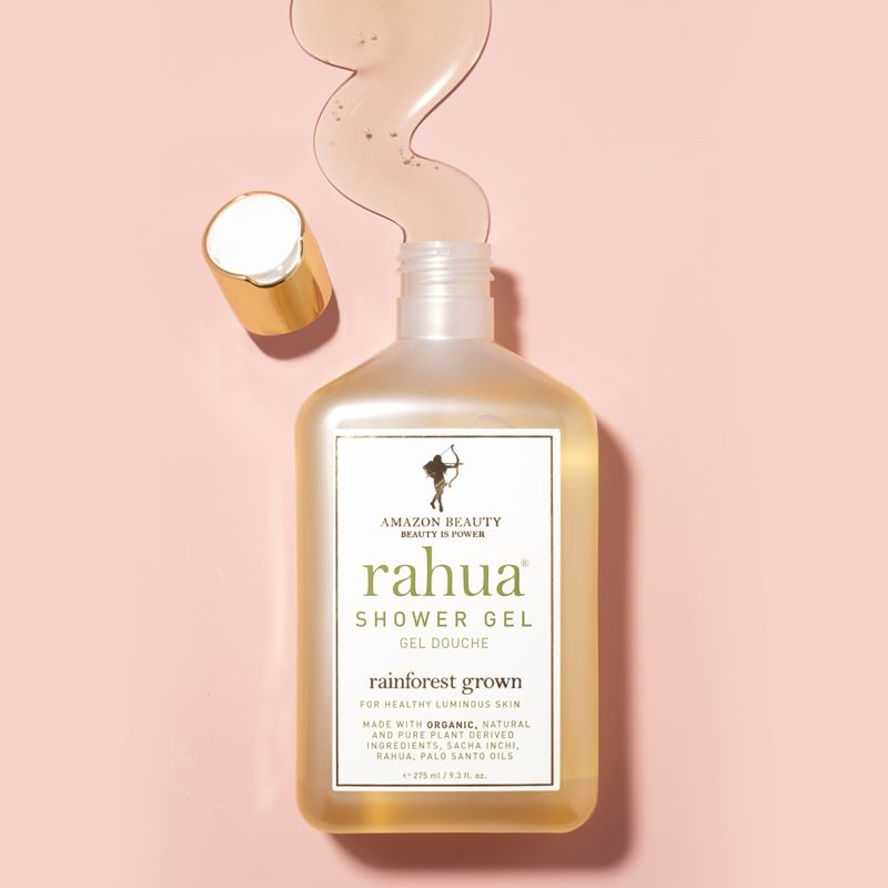 Beauty shot top view of Rahua by Amazon Beauty Rahua Body Shower Gel with top off and gel texture shown
