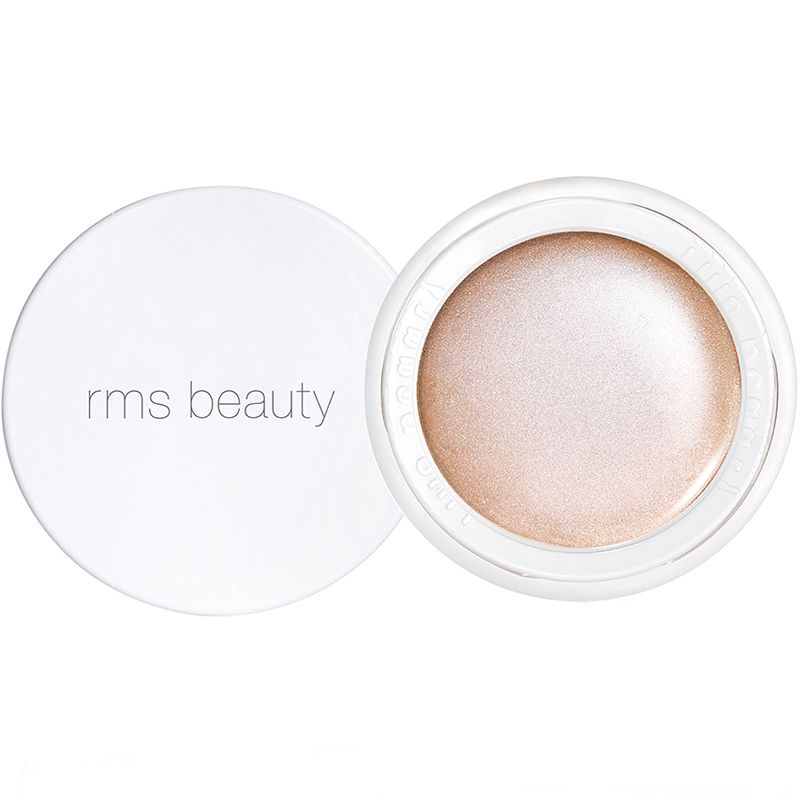 RMS Beauty Luminizer Champagne Rose open jar with lid