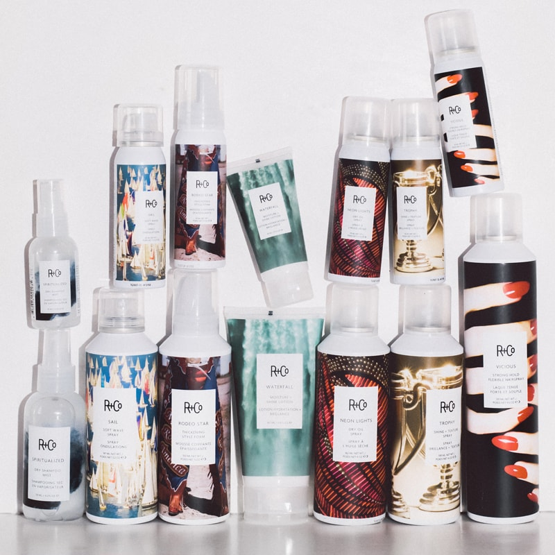 A selection of R+Co products including Waterfall Moisture + Shine Lotion