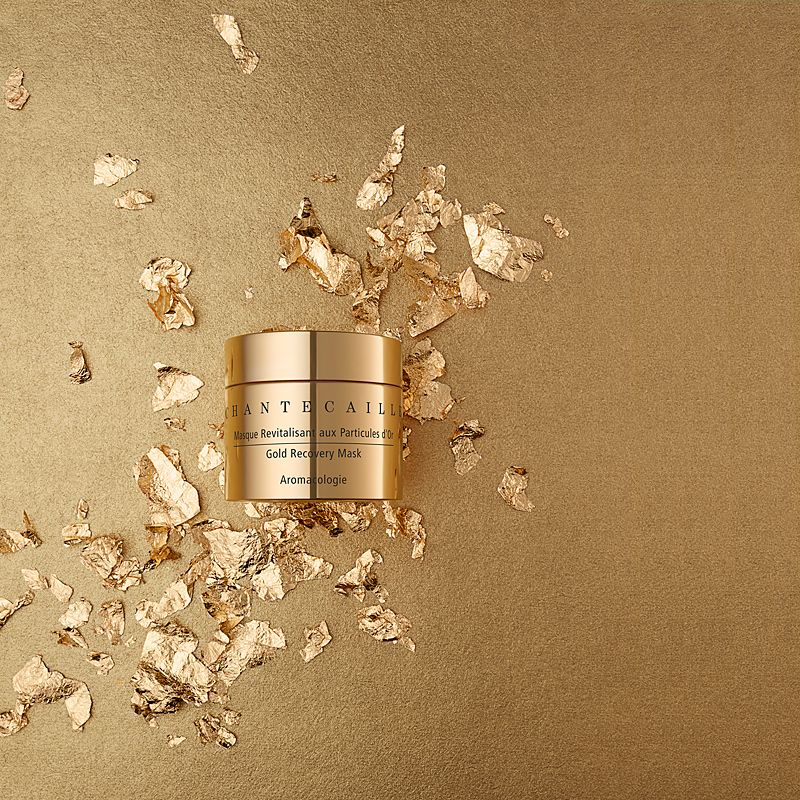 Chantecaille Gold Recovery Mask 50 ml on gold background
