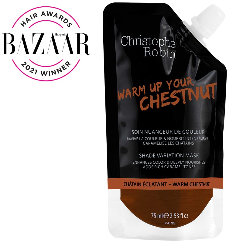 Christophe Robin Shade Variation Mask in Warm Chestnut (75 ml) with Harper's Bazaar Hair Awards 2021 Winner Seal