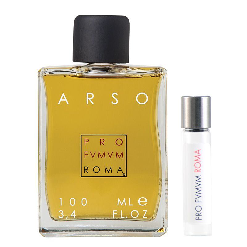 Profumum Roma Arso Eau de Parfum and travel size vial