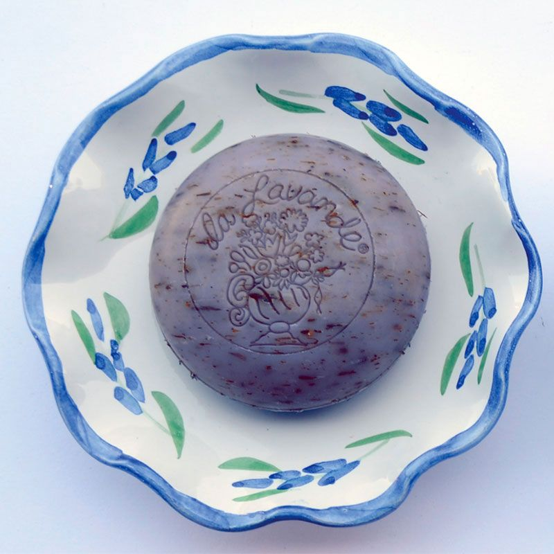 La Lavande Round Bouquet Soap - Lavender Flower on a dish that is sold separately