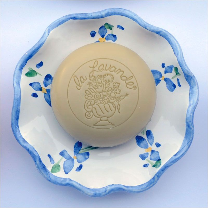 La Lavande Round Bouquet Soap - Lemon Verbena 100 g on a dish sold separately