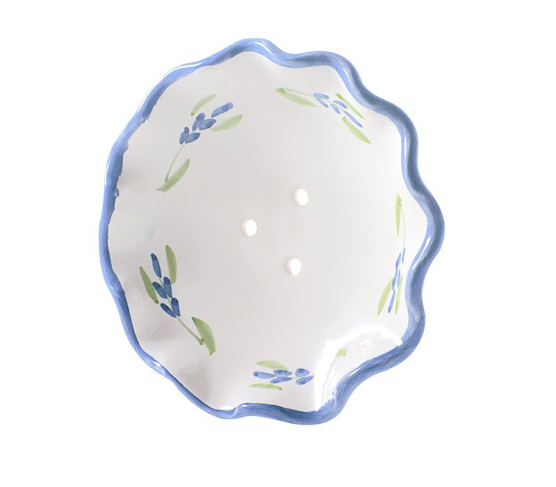 La Lavande Handmade and Handpainted French Round Soap Dish (Lavender, 1 pc) Angled
