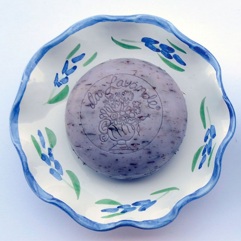 La Lavande Handmade and Handpainted French Round Soap Dish - Lavender - soap on dish