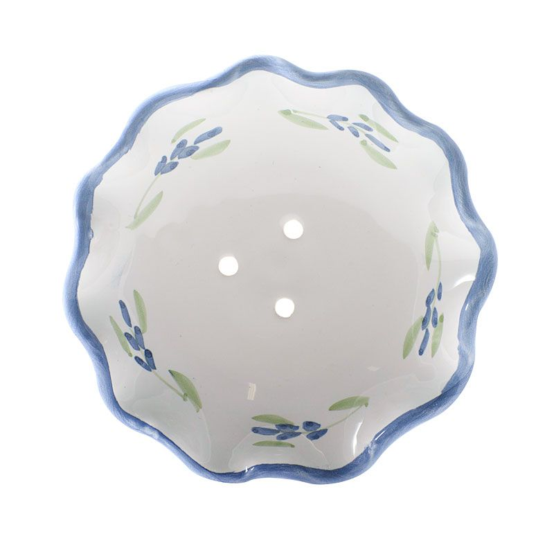 La Lavande Handmade and Handpainted French Round Soap Dish (Lavender, 1 pc)