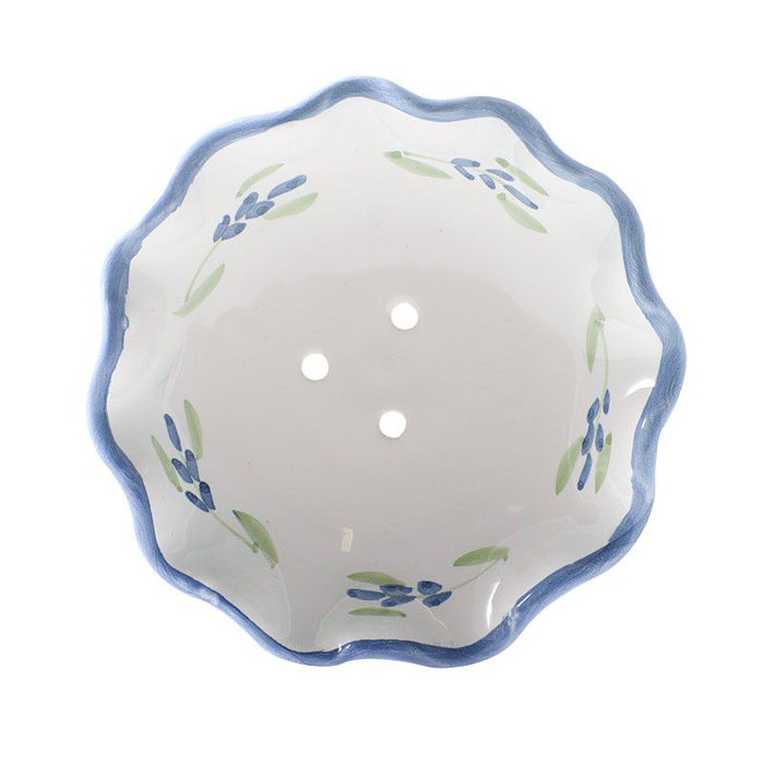 La Lavande Handmade and Handpainted French Round Soap Dish - Lavender