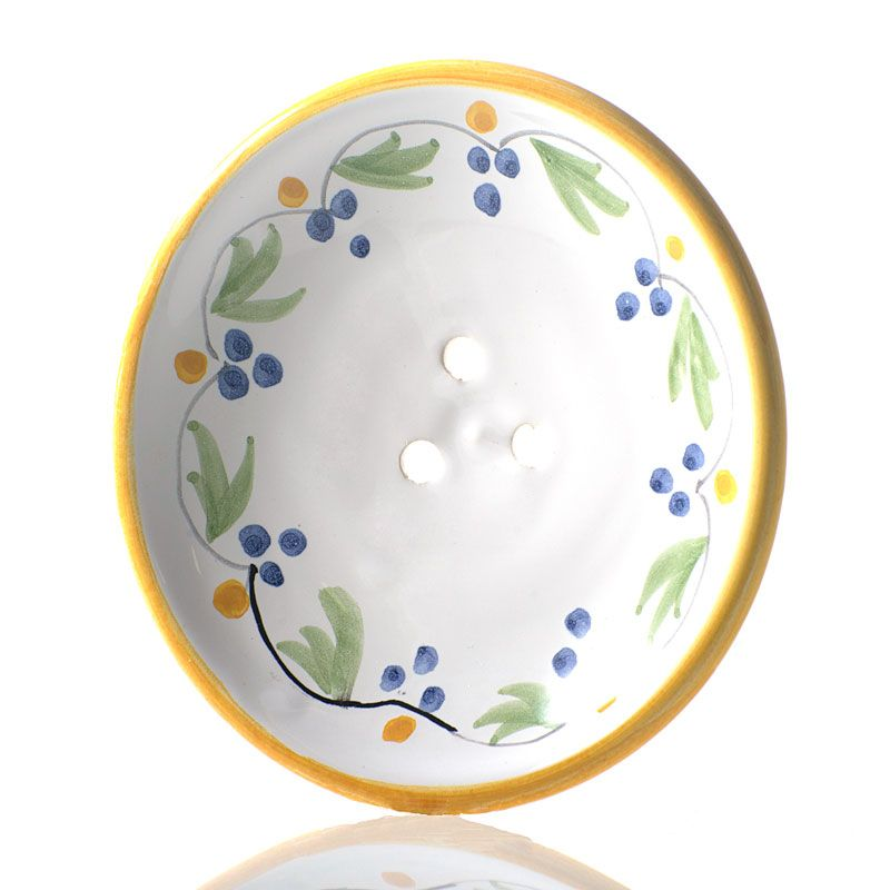 La Lavande Handmade and Handpainted French Round Soap Dish (Yellow Flower, 1 pc) Angled
