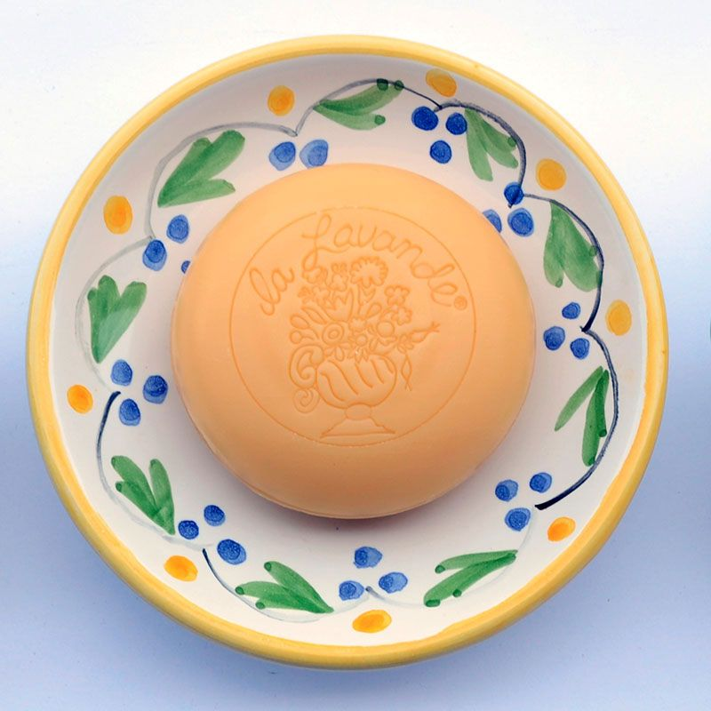 La Lavande Handmade and Handpainted French Round Soap Dish (Yellow Flower, 1 pc) With Soap on Dish