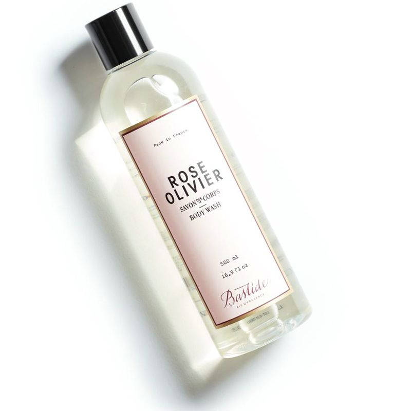 Bastide Rose Olivier Natural Body Wash tipped to the left