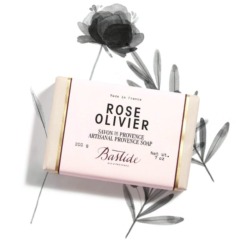 Bastide Rose Olivier Provence Soap with rose ingredient illustrated in background