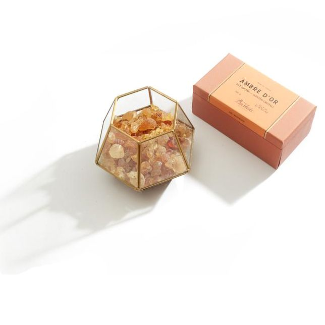 Bastide Ambre d'Or Potpourri Crystals box with example Potpourri Crystals Holder