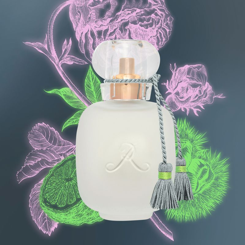 Les Parfums de Rosine Mon Amie La Rose Beauty Shot with purple and green color highlights