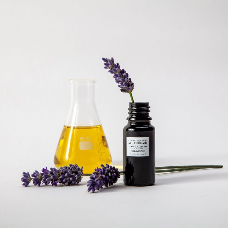Penny Frances Apothecary Lemon & Lavender Cuticle Oil Beauty shot with ingredients