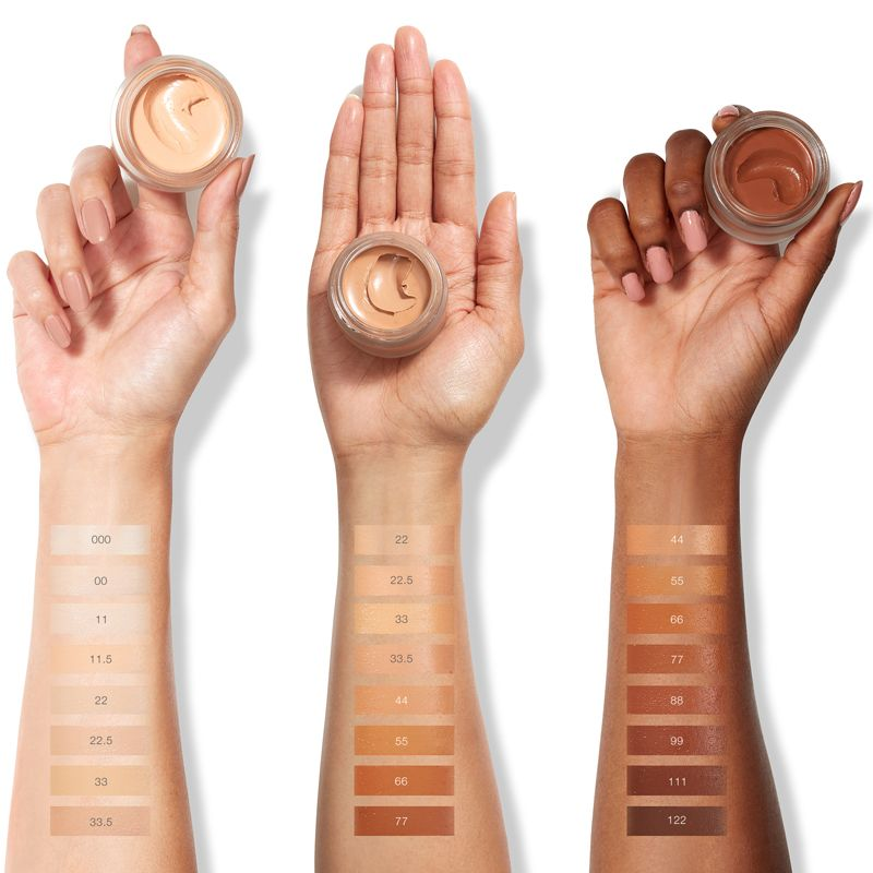 "RMS Beauty ""Un"" Cover-Up Cream Foundation, colors on 3 different skin tone arms"